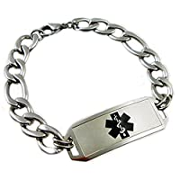 "Waterproof Medical Alert Elite Stainless Bracelet, FREE Engraving, Sizes 7"" - 10"", Choose Medical Emblem Color by Creative Medical ID"