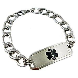 "Waterproof Medical Alert Elite Stainless Bracelet, FREE Engraving, Sizes 7"" - 10"", Choose Medical Emblem Color by Creative Medical ID"
