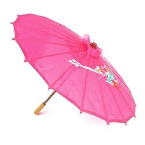 "Flower Print Pink Cloth Bamboo 21"" Dia Chinese Oriental Umbrella Parasol"