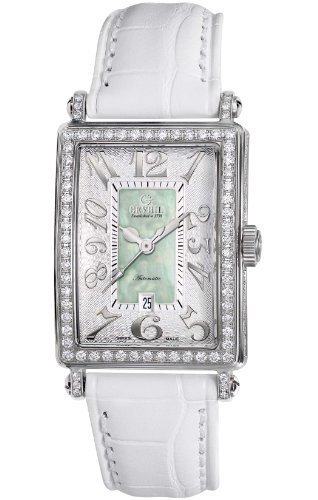 Gevril Women's 6206NV Glamour white calfskin band watch.