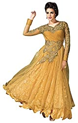 Tempting Yellow Heavy Designer Gown Dress