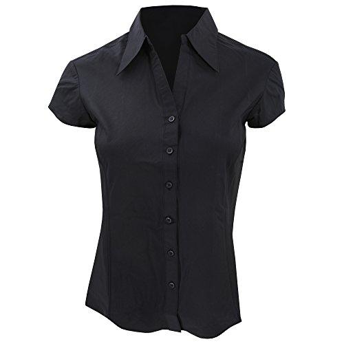 Bargear® - Camicia Maniche Corte da Cameriera - Donna (IT 52) (Nero)