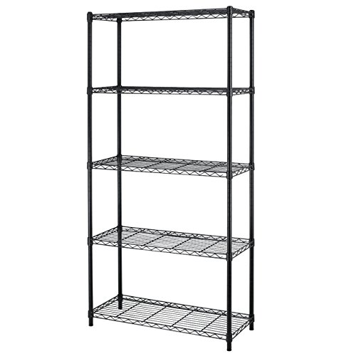 5-shelf Home-style Black Steel Wire Shelving 36 By 14 By 72-inch Storage Rack 5 36