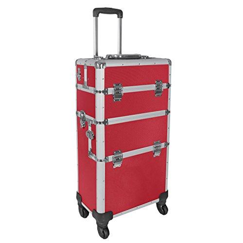 Champ-Aluminium-Koffer-Trolley-Pilotenkoffer-Friseurkoffer-Visagistenkoffer-Rot