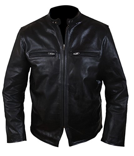 F&H Men's Burnt Bradley Cooper Crunch Cowhide Genuine Leather Jacket M Black ()