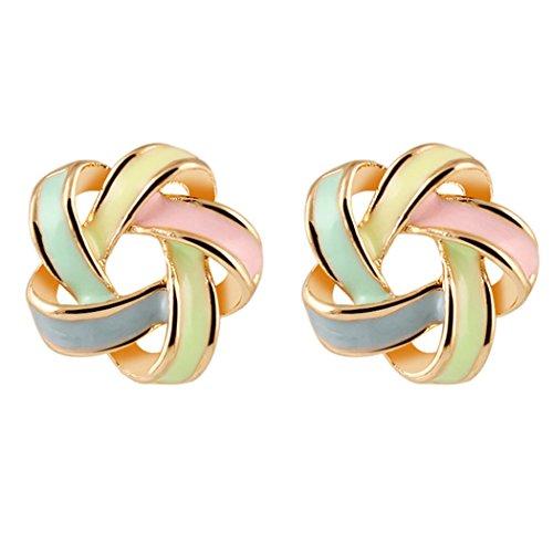 YC Top Fashion Lady Charm distorsione spirale color Bar All-Match Orecchini a perno