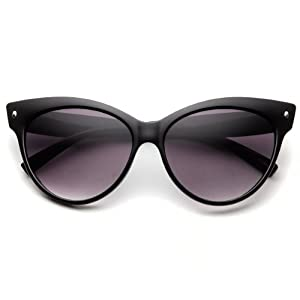 zeroUV® - High Pointed Vintage Mod Womens Fashion Cat Eye Sunglasses (Black)