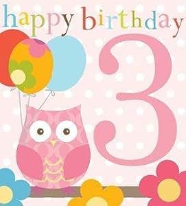 Carte d 39 anniversaire 3 ans fille motif hibou design contemporain fournitures de bureau - Gateau anniversaire fille 3 ans ...