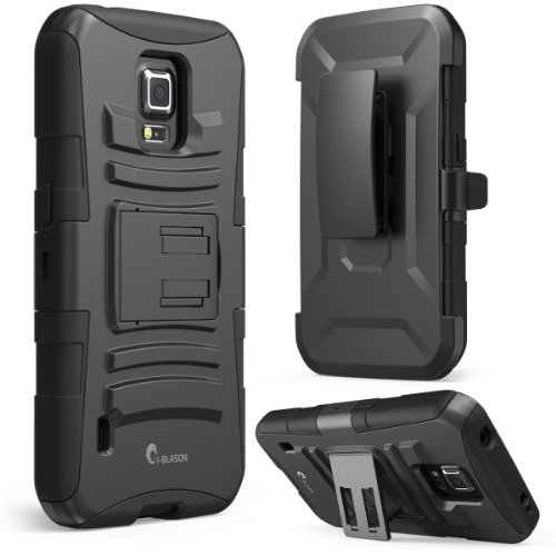 Galaxy S5 Active Case, i-Blason Prime Series Dual Layer Holster Case with Kickstand and Locking Belt Swivel Clip for Samsung Galaxy S5 Active [Will Not Fit the Regular Galaxy S5 i9600] (Black) (Belt Case Samsung S5 compare prices)