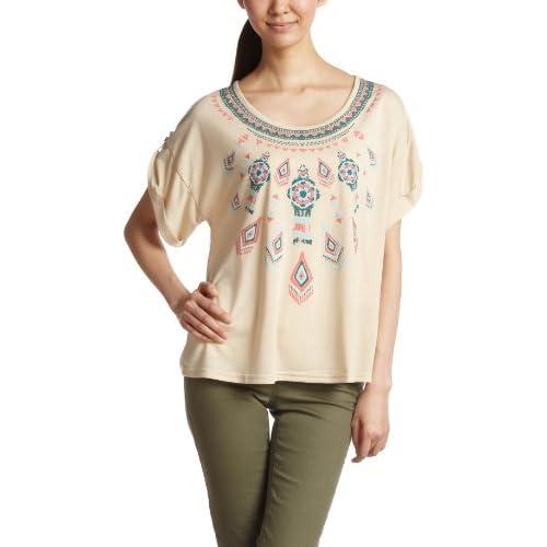 (コンフィー)comfy 3色発泡プリント 袖ロールアップTシャツ 1311101  クリームイエロー F