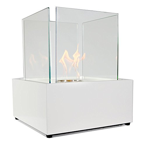 Sunnydaze White Large Cubic Ventless Tabletop Bio Ethanol Fireplace (White Gas Fireplace Ventless compare prices)