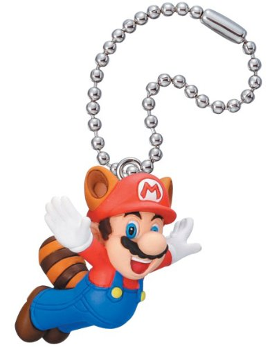 New Super Mario Bros. 2 Mascot Key Chain Figure Tomy - Raccoon Mario