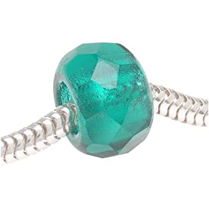 Faceted Czech Glass European Style Large Hole Bead - Teal 'Green Zircon' 12mm (1)