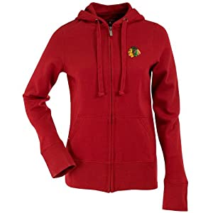 Chicago Blackhawks Ladies Full-Zip Red Signature Hoodie by Antigua by Antigua