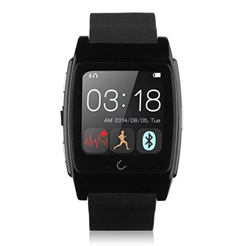 UX スマートウォッチ Bluetooth腕時計 ハンズフリー通話 着信知らせ 置き忘れ防止 歩数計 心拍計 健康管理 多機能ウォッチ コンパス搭載  IOS androidスマホ対応 ブラック