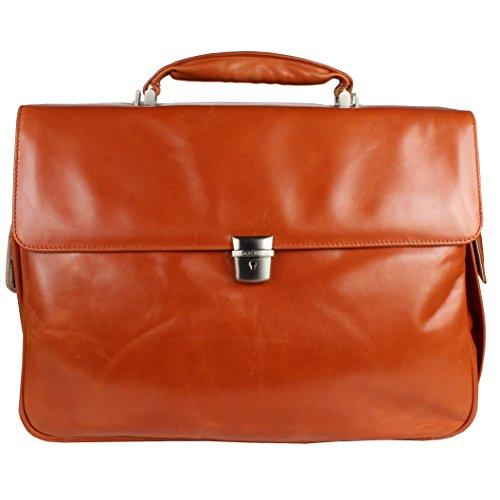 Braun Büffel Texas Briefcase Leather 43 cm Notebook Compartment cognac