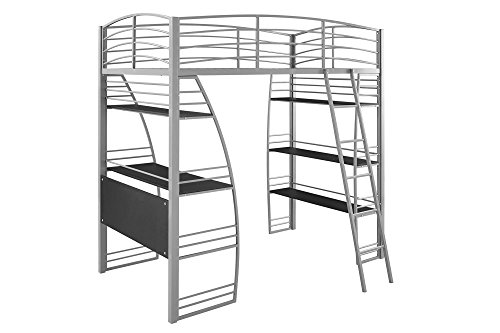 DHP Studio Loft Bunk Bed Over Desk and Bookcase with Metal