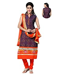 Ritu Creation Women's New Silk Stitched Straight Fit Long Double Flap Design With Embroided(Orange With Blue)