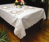 "Rivierra Embroidered Design Tablecloth White 70"" by 120"" Oblong / Rectangle"