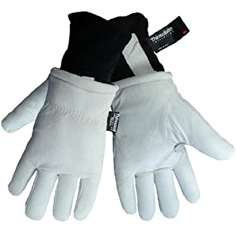 Global Glove 2800GDC Thinsulate Split Gray Goatskin Insulated Premium Freezer Glove with Knit Wrist Cuff, Work, Medium (Case of 72)