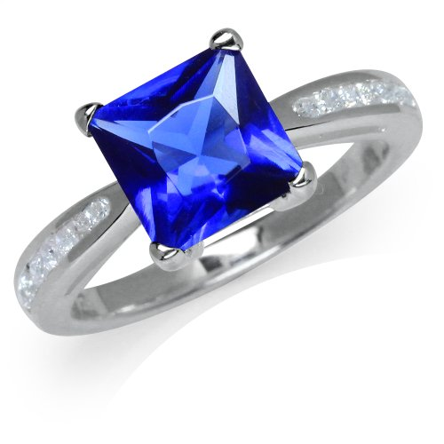 Tanzanite CZ & White CZ 925 Sterling Silver Engagement Ring Size 9
