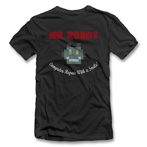 Mr Robot Computer Repair With A Smile T-Shirt dunkelgrau-dark-gray M