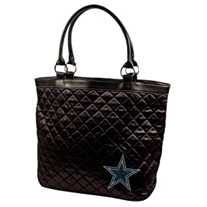 NFL Dallas Cowboys Sport Noir Quilted Tote Purse, Black by Littlearth