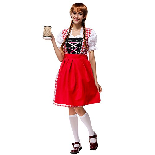 [Bavarian national costume-red Germany Oktoberfest costume maid costume cosplay , m] (China National Costume Name)