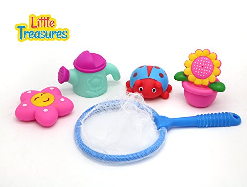 excellent bath toy set for 19+ months old infants to have a super fun bathing time with turtles, fishing out the fishes, and watering the plants from the pot all bath toys making squeaky sounds!