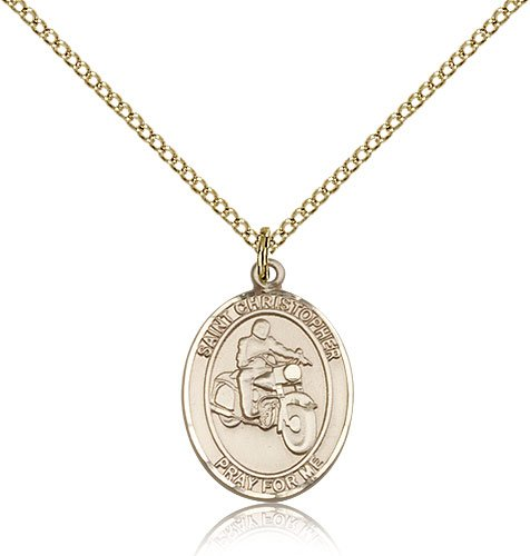 Gold Filled St. Saint Christopher/Motorcycle Harley Rider Medal Pendant 3/4 x 1/2