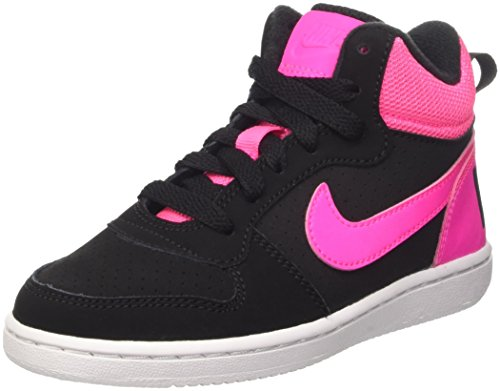 Nike Court Borough Mid Ps, Scarpe da Basketball Bambine e Ragazze, Multicolore (Black/Pink Blast), 34 EU
