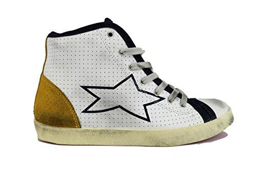 ISHIKAWA sneakers uomo bianco blu giallo pelle camoscio AH633 (43 EU)