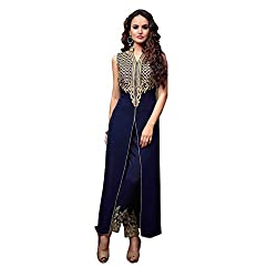 Fab Glory Womens Navy Blue Semi-Stitched Georgette Chain Anarkali Dress Material