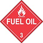 Accuform Signs MPL303VS1 Adhesive Vinyl Hazard Class 3 DOT Placard, Legend FUEL OIL 3 with Graphic, 10-3/4 Width x 10-3/4 Length, White on Red