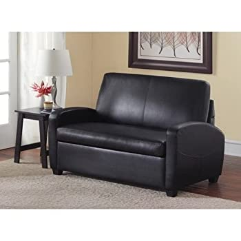 "Alexs New Sofa Sleeper Black Convertible Couch loveseat Chair Leather Bed Mattress (54"", Black)"