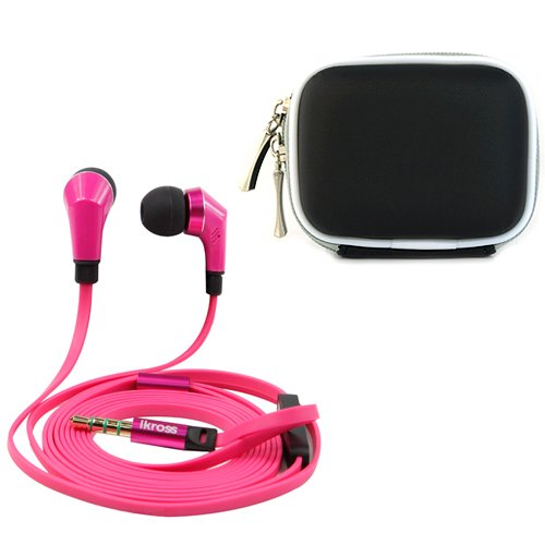 Ikross Hot Pink / Black In-Ear 3.5Mm Noise-Isolation Stereo Earbuds With Microphone + Black Accessories Carrying Case For Coby Kyros Mid7035/ Mid7047/ Mid7046