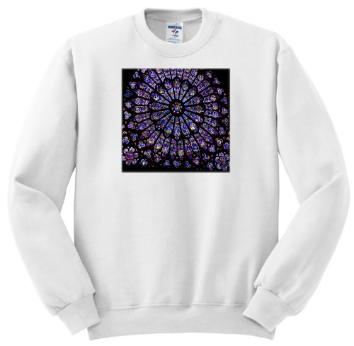 Ss_50227_1 Florene Architecture - Notre Dame Cathedral Stained Glass - Sweatshirts - Adult Sweatshirt Small