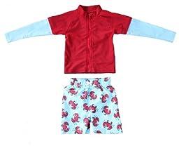 Crabby Pants - UV Sun Protective Rash Guard Swimsuit Set by SwimZip Swimwear, Size 9, Blue