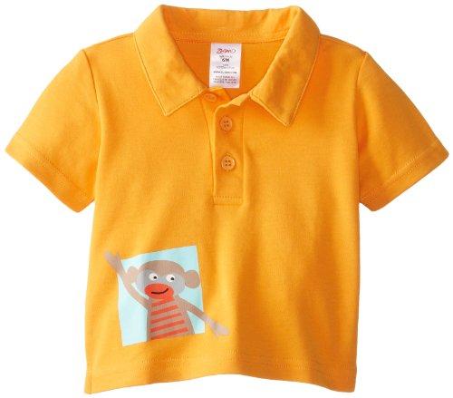 Zutano Baby-Boys Infant Monkey Dance Screen Polo Shirt, Orange, 12 Months