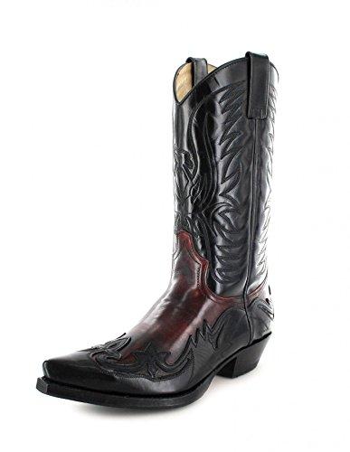 Sendra Boots3241 - Stivali western Unisex - adulto , Multicolore (Negro Rojo), 47