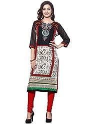 HIVA Womens's Trendy Cotton Black And Beige Ethnic Print Kurti With Chiffon Sleeve