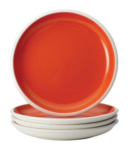 Rachael Ray Dinnerware Rise Collection 4-Piece Stoneware Salad Plate Set, Orange