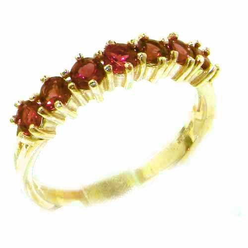High Quality Solid Hallmarked 14ct Yellow Gold Natural Pink Tourmaline Eternity Ring - Size N - Finger Sizes K to Y Available - Perfect Gift for Mum, Mother, Wife, Daughter, Grandaughter, Grandmother, Grandma, Bridesmaids, Best Friend, Aunty