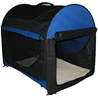 BUNNY BUSINESS Fabric Soft Dog Puppy Cage Folding Crate with Fleece and Carry Case, Medium, 24-inch, Blue/ Black