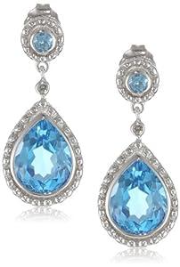 14k White Gold Blue Topaz and Diamond Drop Earrings