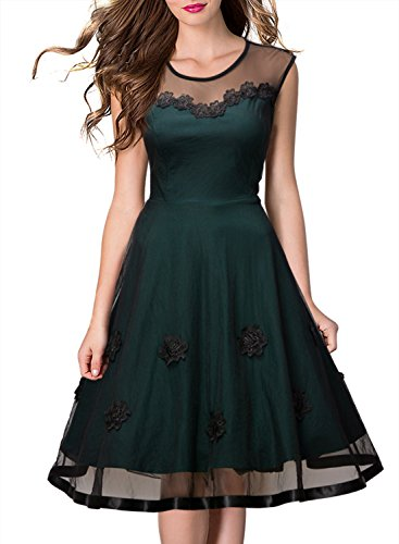 Miusol Women's Sleeveless 1950s Vintage Style Patchwork Mesh Casual Dresses (Green) (XXL/16)