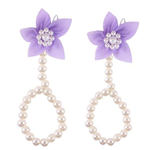 Trendy 1 paio di moda bella perla chiffon a piedi nudi del bambino del fiore del bambino del calzino del piede (Viola)