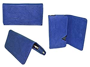 Premium Branded Fabric Leather Card Holder Pouch for iBall Andi 3.5 - Blue - WTPBL45#0558