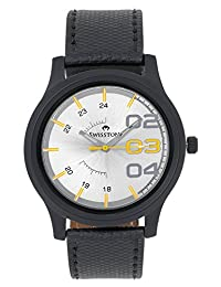 Swisstone White Dial Black Leather Strap Analog Watch For Men/Boys- ST-GR012-WHT-BLK