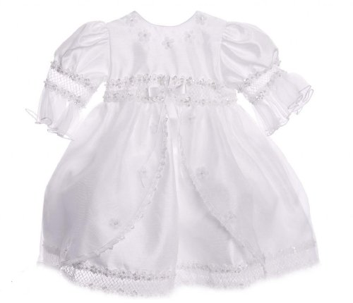 Baby Girl White Floral Lace Pearl Christening Gown Szie 18M